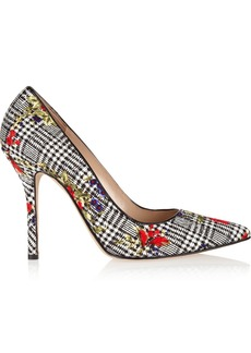 Oscar de la Renta Grace printed woven silk pumps