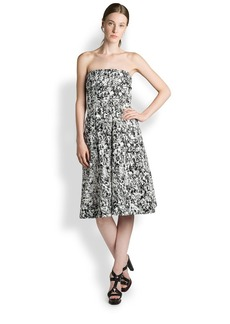 Jil Sander Risiko Printed Strapless Dress