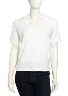 James Perse Short-Sleeve V-Neck Slub Jersey Top, White
