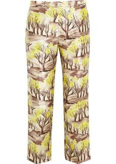 Marni Printed satin-twill straight-leg pants