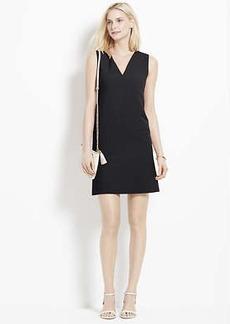 Petite Doubleweave V-Neck Shift Dress
