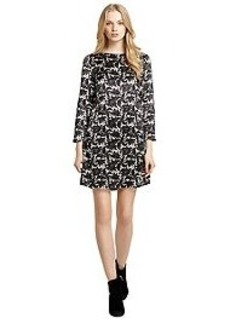 Silk Long-Sleeve Lace Print Dress