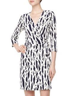 Laundry By Design Three-Quarter Wrap Bamboo-Print Stretch-Knit Dress, Ink Blot Multi