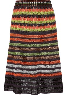 M Missoni Knitted cotton-blend and faux raffia skirt