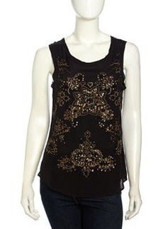 Nicole Miller Sleeveless Floral Beaded Chiffon Blouse, Black