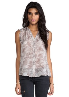 Joie Fayanna Printed Silk Top in Taupe