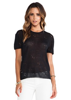 Central Park West Ponte Verdra Tee in Black
