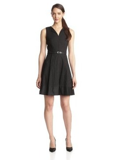 Calvin Klein Women's V-Neck Fit-and-Flare Dress