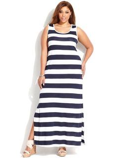 INC International Concepts Plus Size Sleeveless Striped Maxi Dress