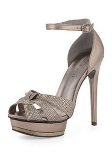 Pelle Moda Ava Jeweled Metallic Leather and Suede Peep Toe Sandal, Pewter
