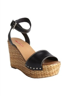 Prada Sport black leather ankle strap basketweave wedges