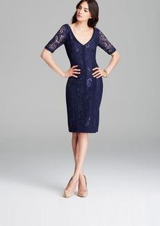 Laundry by Shelli Segal Dress - Short Sleeve Double V Lace Mixed Media