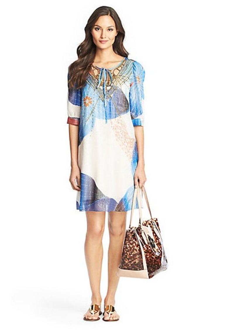 Nessa Beaded Kaftan Chiffon Dress