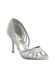 Badgley Mischka silver textile crystal studded 'Glynn' pumps