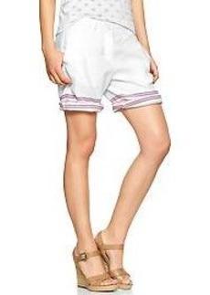 Border-stripe boyfriend roll-up shorts