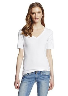 Three Dots Women's Nine-Inch Sleeve Mid V-Neck Tee