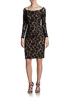Carmen Marc Valvo Lace Off-The-Shoulder Cocktail Dress