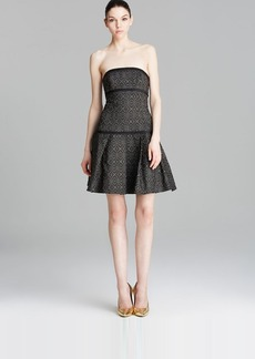 ABS by Allen Schwartz Dress - Strapless Jacquard Drop Waist Flare Hem