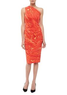 Michael Kors Agate-Print One-Shoulder Dress