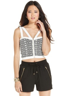 XOXO Jacquard Cutout Crop Top