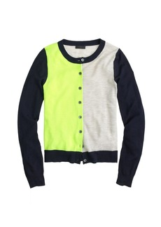 Collection featherweight cashmere cardigan in colorblock