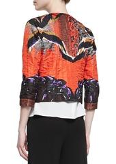 Etro Cropped Printed Cloque Jacket, Orange/Purple