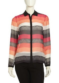 Lafayette 148 New York Striped Silk Chiffon Blouse, Petunia