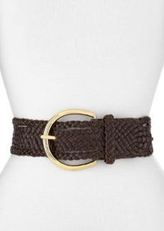 Linea Pelle Braided Classic Belt, Dark Chocolate