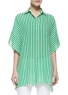 Michael Kors Striped Kimono Blouse, Palm/White