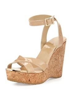 Papyrus Patent Cork Wedge, Nude   Papyrus Patent Cork Wedge, Nude