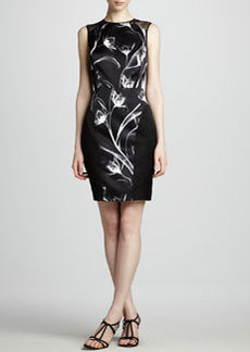 Jason Wu X-Ray Printed Sheath with Leather Trim
