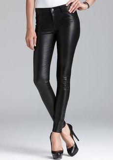 J Brand Jeans - 815 Mid Rise Super Skinny in Coated Black Tar