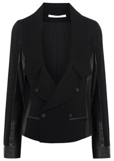 Diane von Furstenberg Saskia leather-paneled crepe jacket