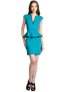 A.B.S. by Allen Schwartz teal green ponte sleeveless peplum leather trim dress