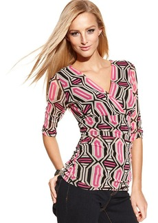 INC International Concepts Petite Surplice-Neck Printed Top