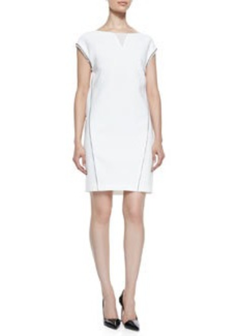 Christina Cap-Sleeve Dress with Illusion V-Neck   Christina Cap-Sleeve Dress with Illusion V-Neck
