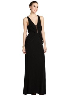 A.B.S. by Allen Schwartz black stretch jersey sleeveless illusion gown