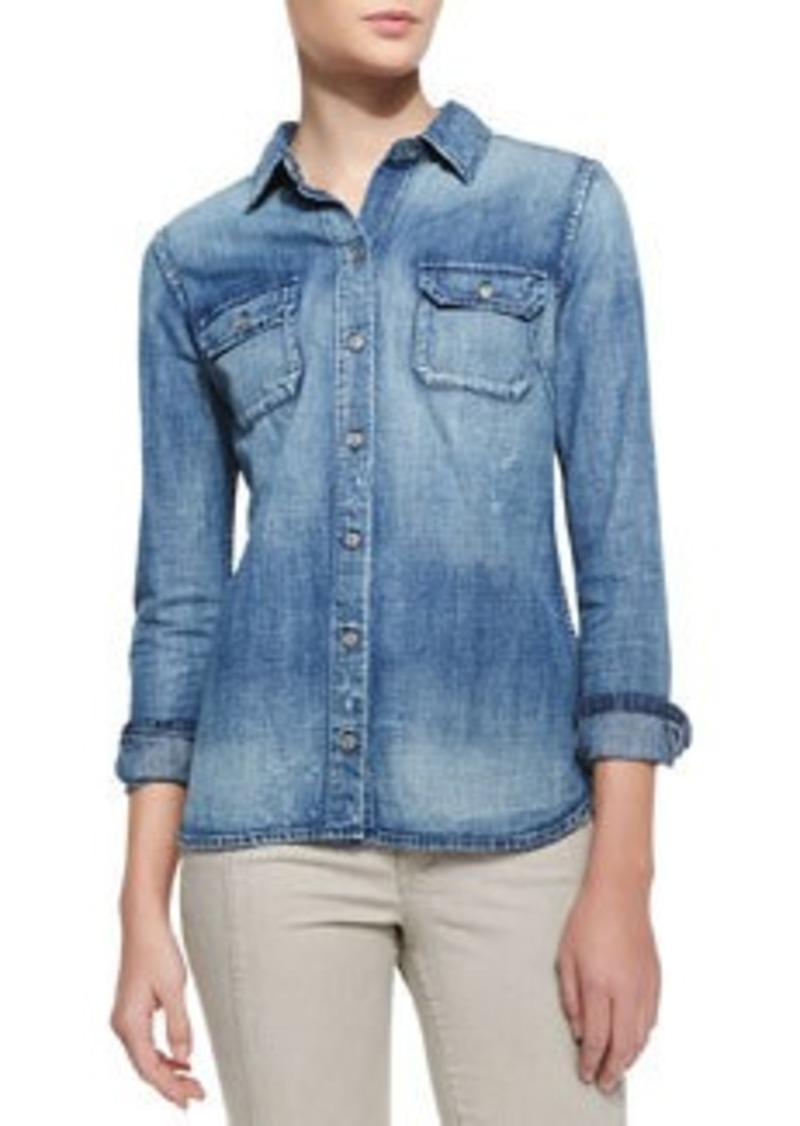 AG Adriano Goldschmied Dakota Distressed Denim Shirt, Vortex Blue