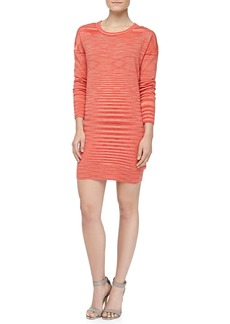 Michael Kors Space-dye Long-Sleeve Cashmere Dress, Coral