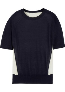Chloé Paneled cashmere-blend and silk top