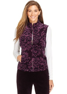 Charter Club Vest, Sleeveless Baroque-Print Quilted Velour Vest