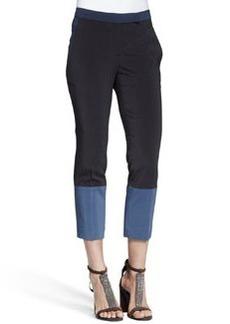 Brunello Cucinelli Cropped Colorblock Silk Pants