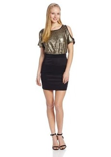 XOXO Juniors Short Sleeve Cold Shoulder Sequin Dress