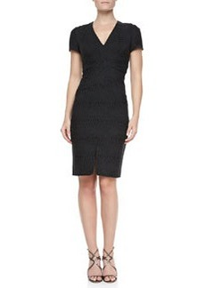 Zac Posen V-Neck Jacquard Sheath Dress