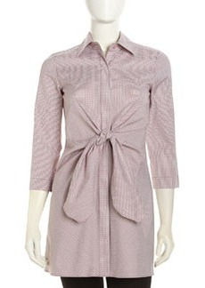 Lafayette 148 New York Tie-Waist Check Tunic, Raspberry
