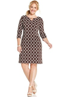 Charter Club Plus Size Iconic-Print Keyhole Dress