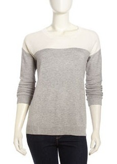 Joie Long-Sleeve Ribbed Knit Sweater, Heather Gray