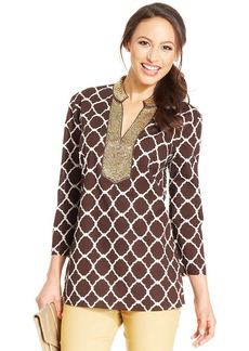 Charter Club Beaded Printed Tunic