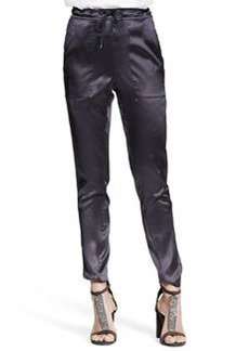 Brunello Cucinelli Reversible Stretch-Silk Satin Drawstring Pants