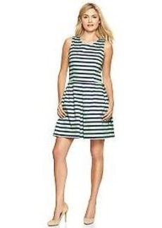 Stripe sateen fit & flare dress